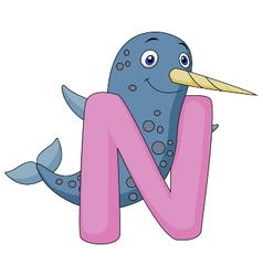 Alphabet N with Narwhal cartoon vector