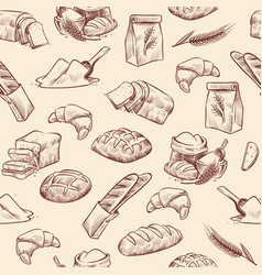 Bakery seamless pattern bread croissant pastries vector
