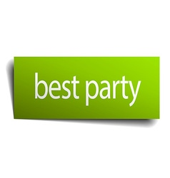 Best party green paper sign on white background vector