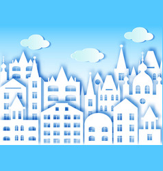 big city and clouds vector image