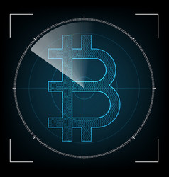 bitcoin with radar screen vector image