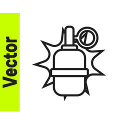 black line hand grenade icon isolated on white vector image