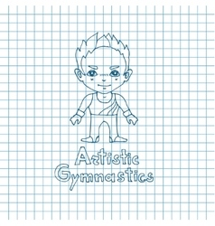 Boy gymnast in sketch sryle vector image