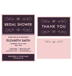 Bridal Shower Invitation and Thank You Cards vector image