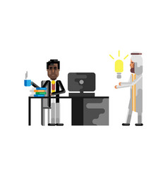Business meeting african manager with businessman vector
