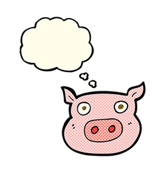 cartoon pig face with thought bubble vector image