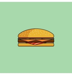 Cheeseburger with bacon in minimalist style vector image