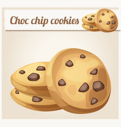 choc chip cookie icon cartoon vector image