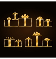Christmas gold gifts set vector image
