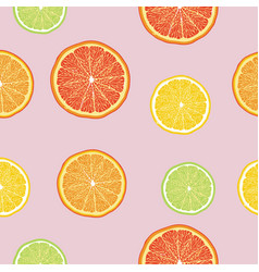 Citrus fruits pattern seamless color vector