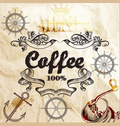 coffee background on a old paper texture with map vector image