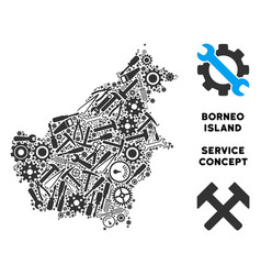 Collage borneo island map of service tools vector