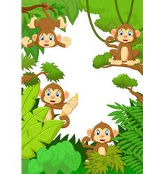 collection monkey silly face in the forest vector image