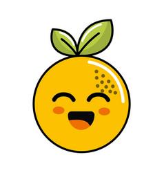 color kawaii happy orange icon vector image