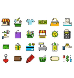 Colorful store icons set vector
