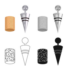 corkscrew and cork icon in cartoon style isolated vector image