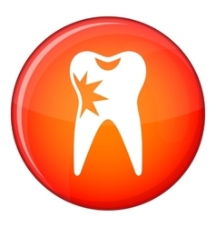 Cracked tooth icon flat style vector