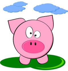 Cute Cartoon Pink Pig - Funny Farm Animal vector image