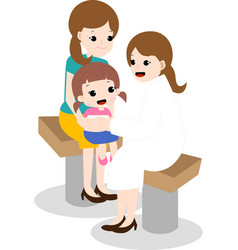 Cute kid and mom see the doctor vector