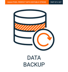 data backup colorful simple outline icon vector image