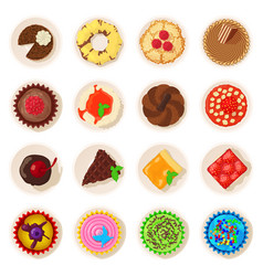 Dessert top view detailed icons set cartoon style vector