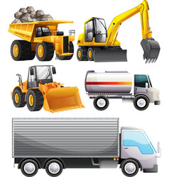 Different kinds of tractors and truck vector