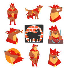 dog superhero character in action set dog in vector image