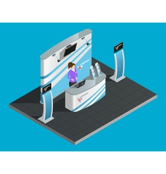 Exibition stand isometric vector image