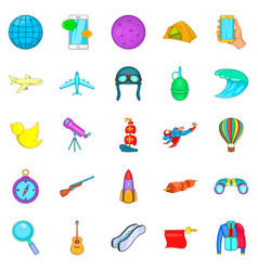 exploration icons set cartoon style vector image