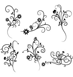Flower Flourish Swirl set vector