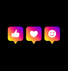 Followers comment icon set colors social network vector