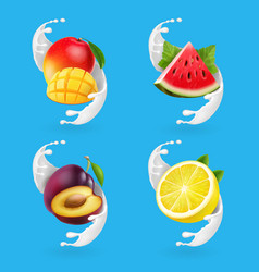 fruit yogurt set mango lemon watermelon vector image