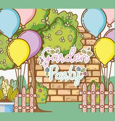 Garden party card vector