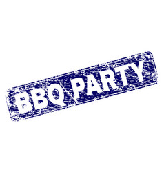 grunge bbq party framed rounded rectangle stamp vector image