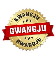 Gwangju round golden badge with red ribbon vector image