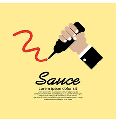 Hand Squeezing A Sauce Bottle vector image