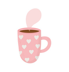 Happy valentines day hot coffee cup with hearts vector