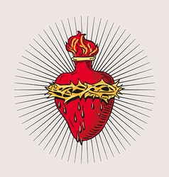 heart blessed virgin mary tattoo vector image