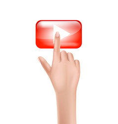 human hand presses on red play button vector image
