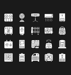Hvac white silhouette icons set vector