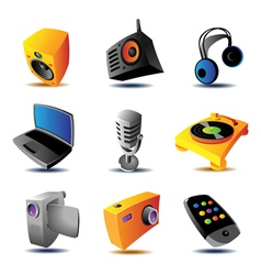Icons of media devices vector image