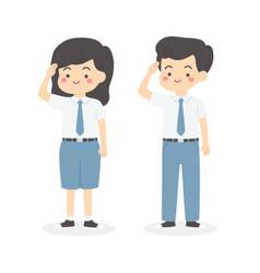 indonesian senior high school uniform kids salute vector image