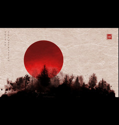 Ink wash painting forest and big red sun hand vector