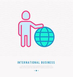 international business man holding globe vector image