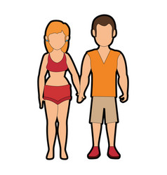 Isolated cute couple vector