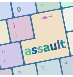 Keyboard with enter button assault word on it vector