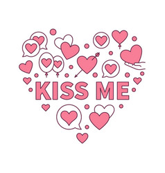 Kiss me colored heart modern vector