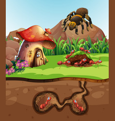 Landscape design with ants underground vector