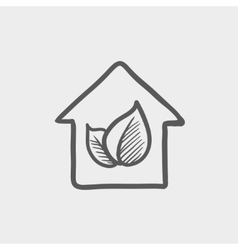 Leaf house sktech icon vector image