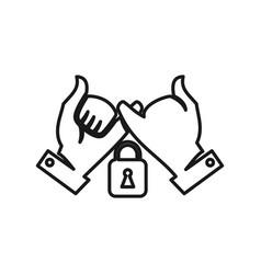 Lock secure commitment teamwork together outline vector